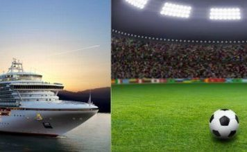 Statek wycieczkowy ze stadionem